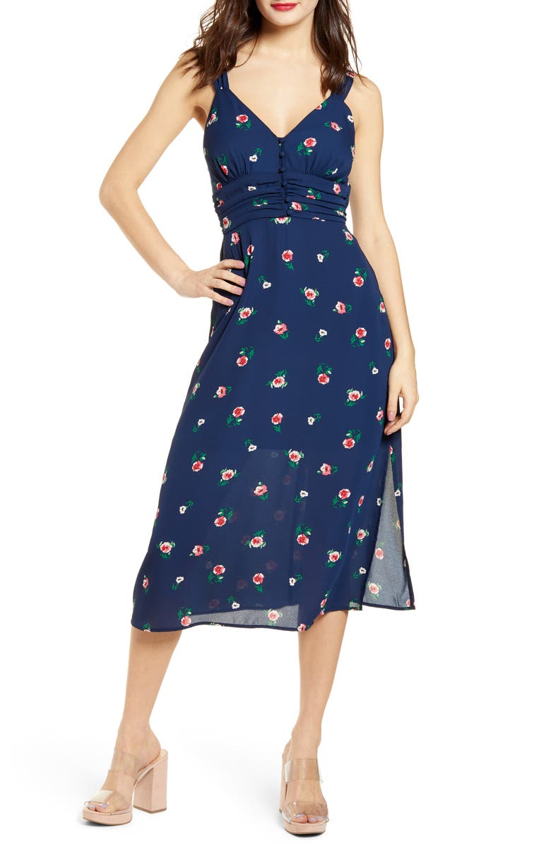 ROW A Gathered Waist Button Front Crepe Midi Dress, Main, color, NAVY