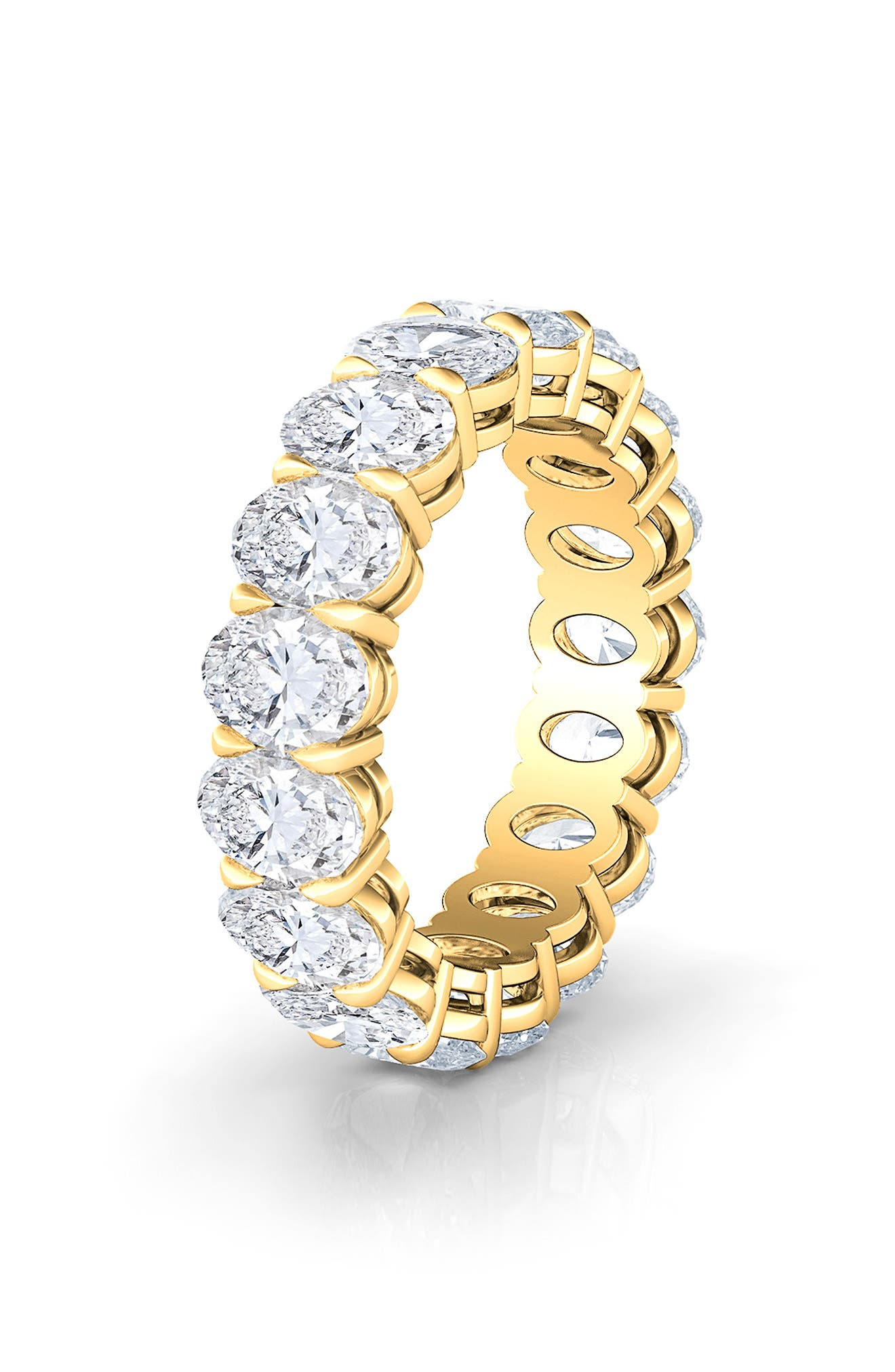 Oval Cut 6Ct Tw Lab Created Diamond 18K Gold Eternity Band