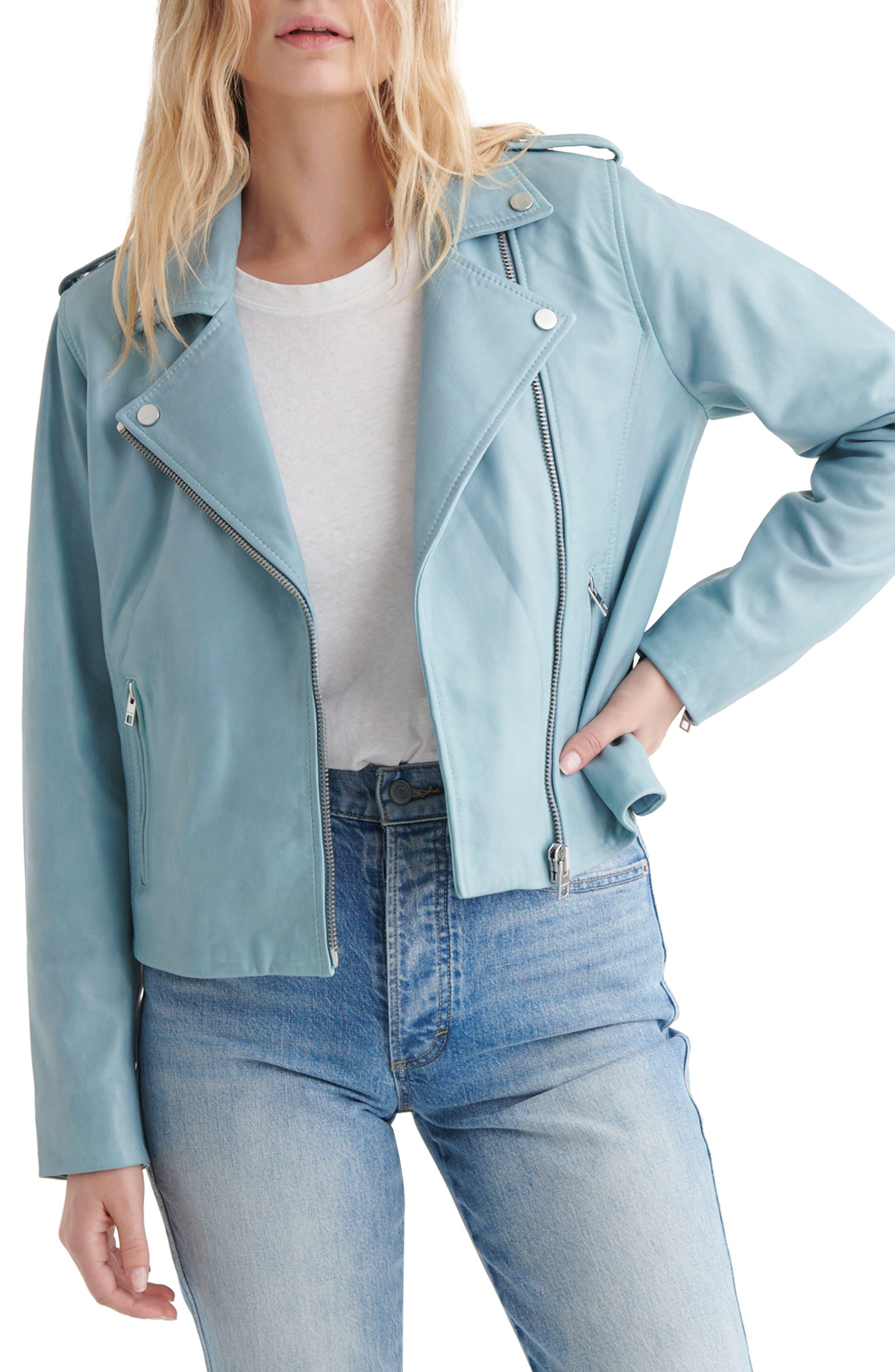 Light Blue Leather Moto Jacket