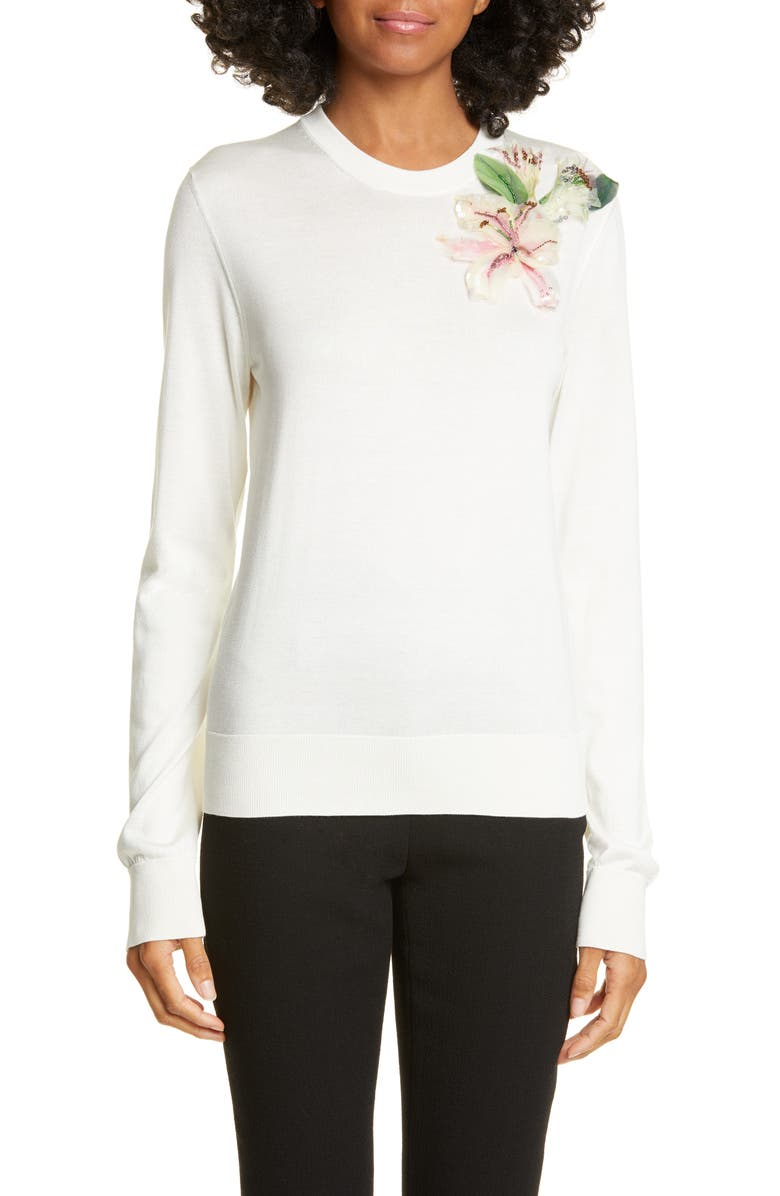 DOLCE&GABBANA Lily Embellished Silk Sweater, Main, color, WHITE
