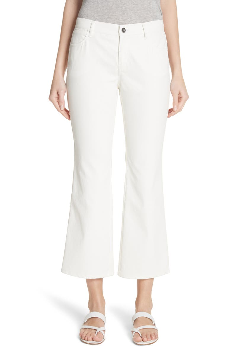 LAFAYETTE 148 NEW YORK Mercer Crop Flare Jeans, Main, color, WHITE
