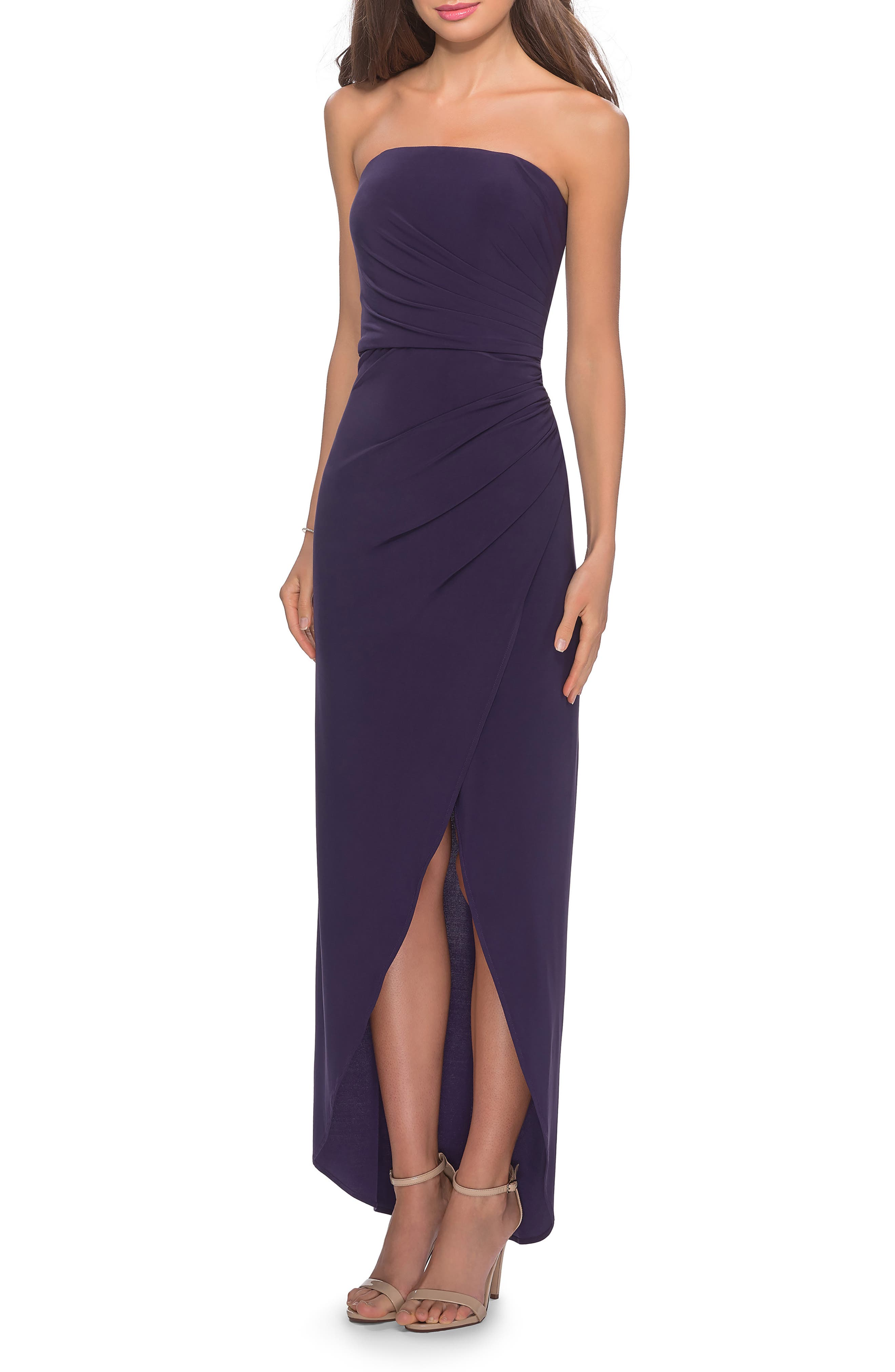 La Femme Strapless Ruched Soft Jersey Gown, Purple