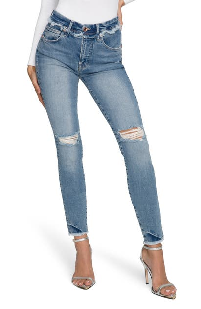 Good American GOOD LEGS FRAYED HIGH WAIST ANKLE SKINNY JEANS