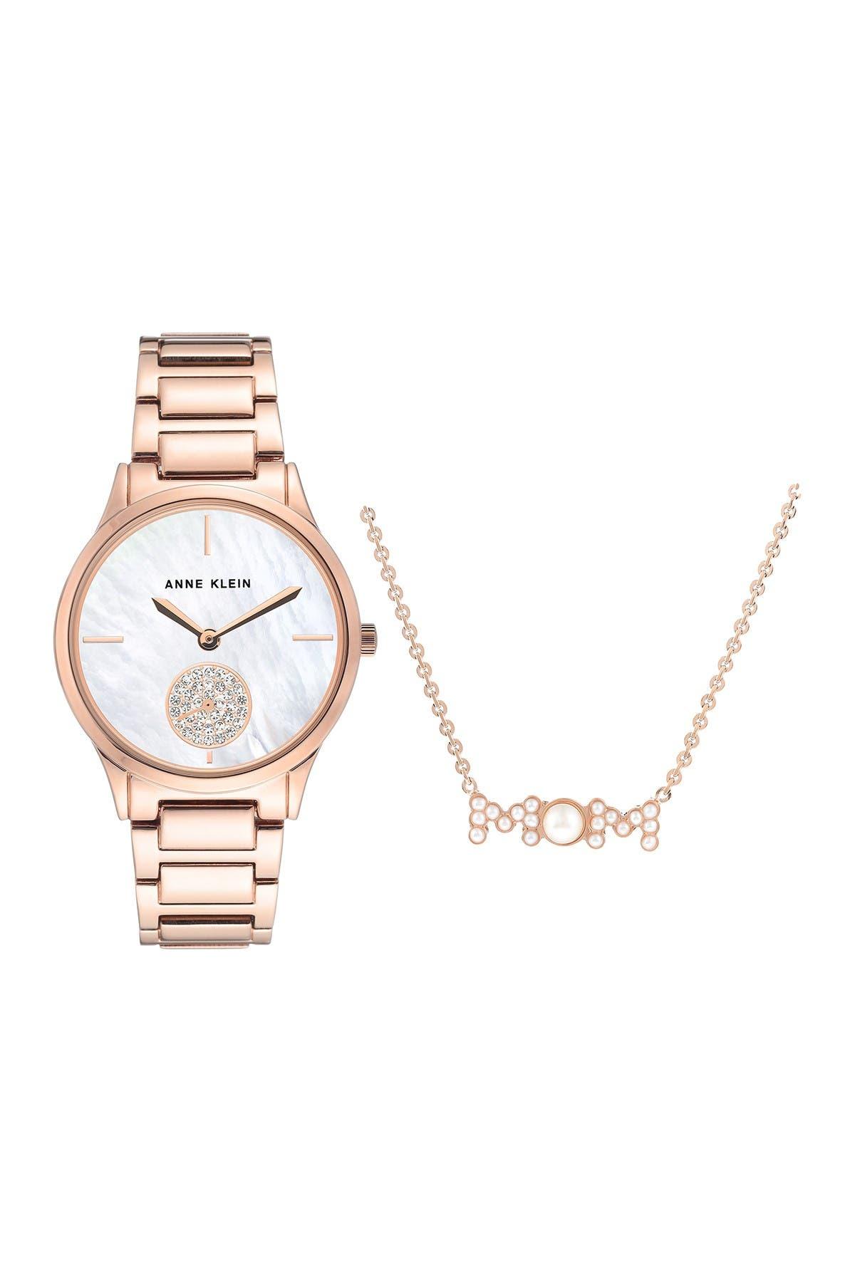 Image of Anne Klein Swarovski Crystal Accented 35mm Watch & Bracelet Set