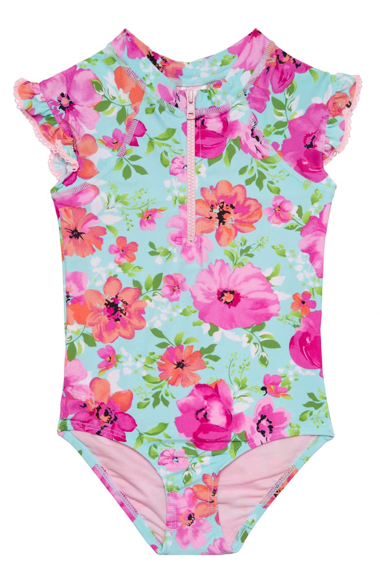 HULA STAR Princess Floral One-Piece Rashguard Swimsuit, Main, color, 400