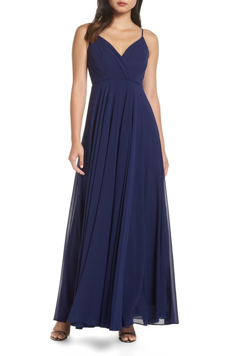 LULUS Surplice Chiffon Gown, Main, color, NAVY