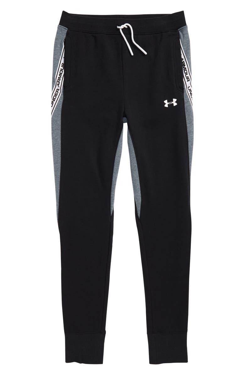 UNDER ARMOUR Sportstyle Fleece Jogger Sweatpants, Main, color, BLACK/ WIRE LIGHT HEATHER