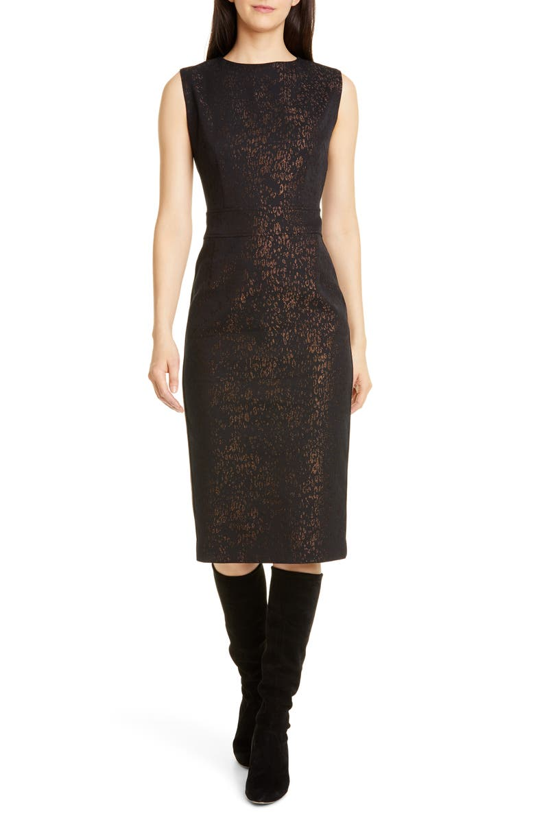 SEVENTY Metallic Leopard Jacquard Dress, Main, color, BROWN / GOLD