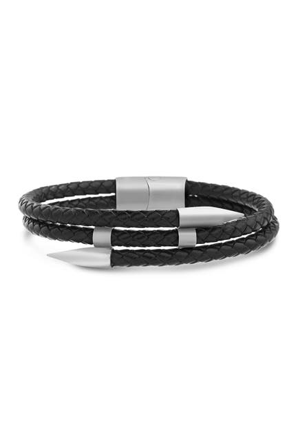 Image of Steve Madden Reinforcements Stainless Steel Black Leather Braid with Pointed Edge Bracelet