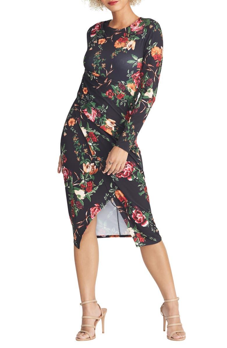 RACHEL RACHEL ROY Bret Floral Long Sleeve Sheath Dress, Main, color, BLACK COMBO