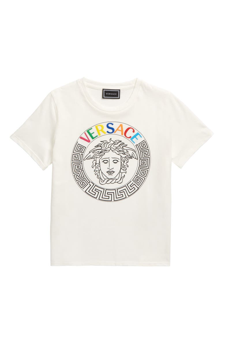 VERSACE Embroidered Logo Medusa T-Shirt, Main, color, WHITE