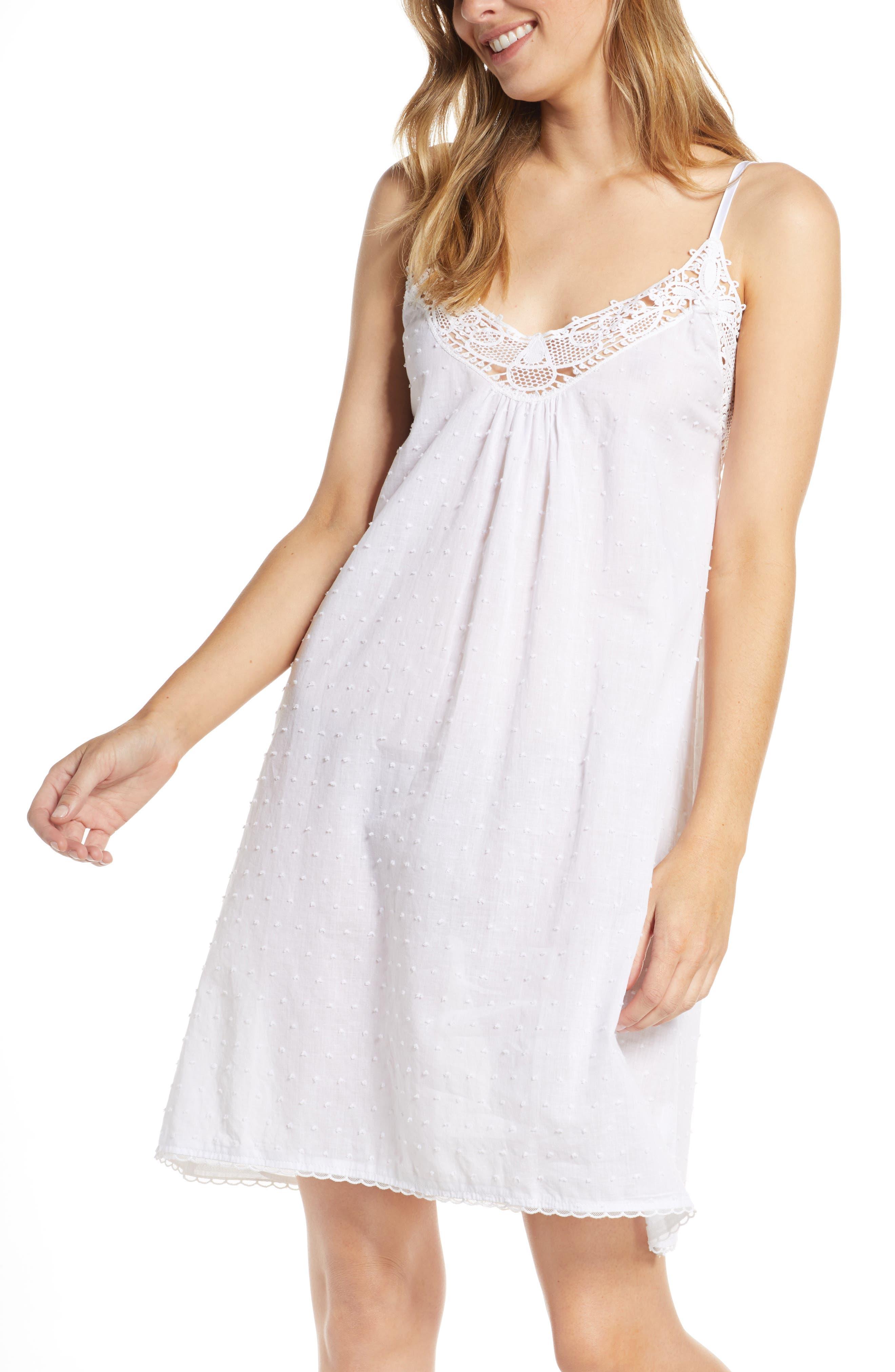 1920s Style Underwear, Lingerie, Nightgowns, Pajamas Womens Papinelle Swiss Dot Lace Trim Chemise $59.00 AT vintagedancer.com