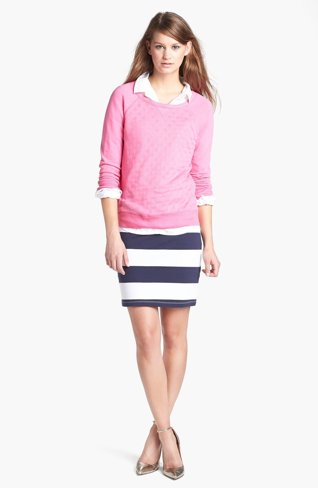 ,                             Stripe French Terry Skirt,                             Alternate thumbnail 14, color,                             411