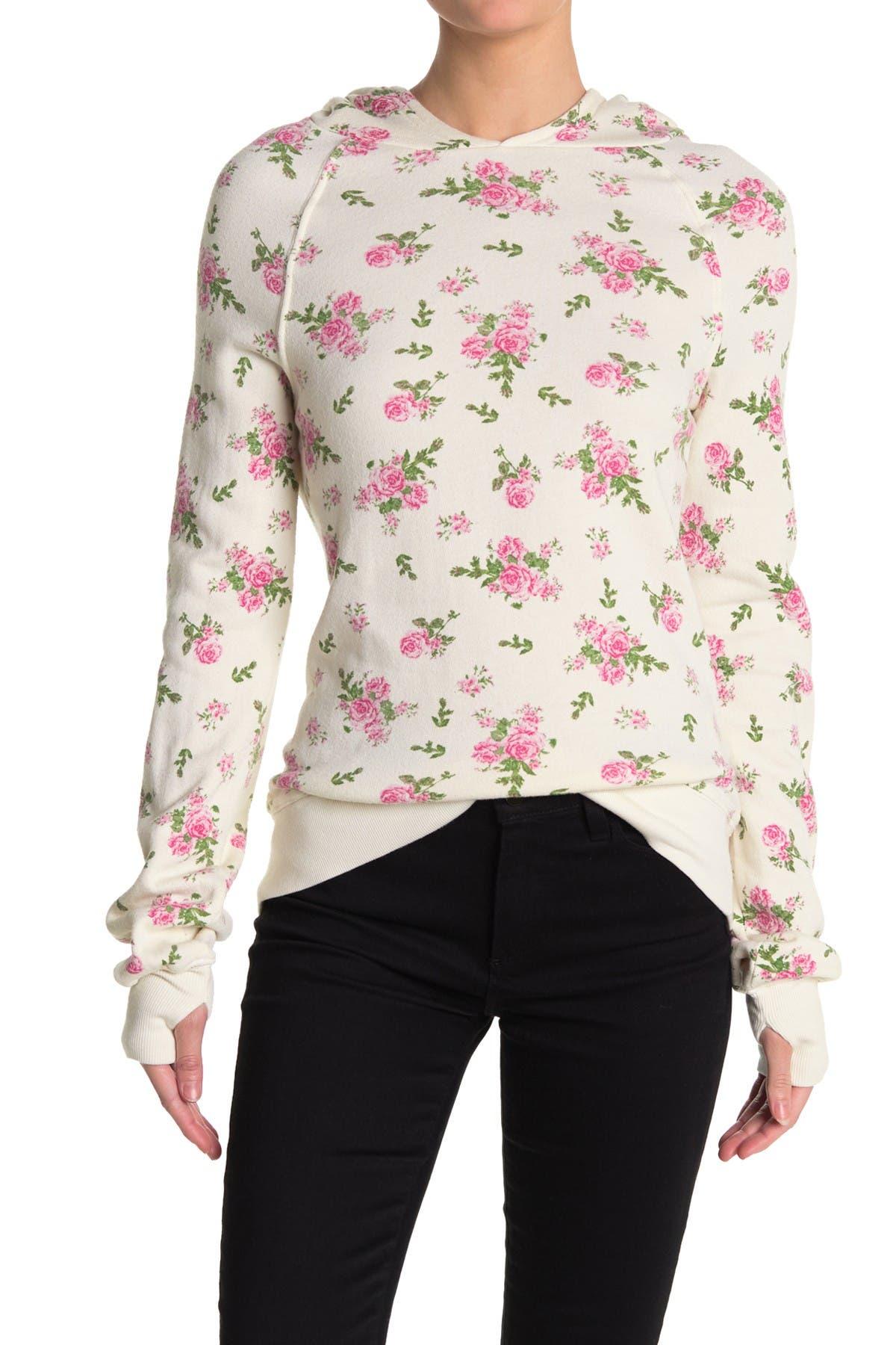 Image of PAM AND GELA Floral Raglan Pullover Hoodie