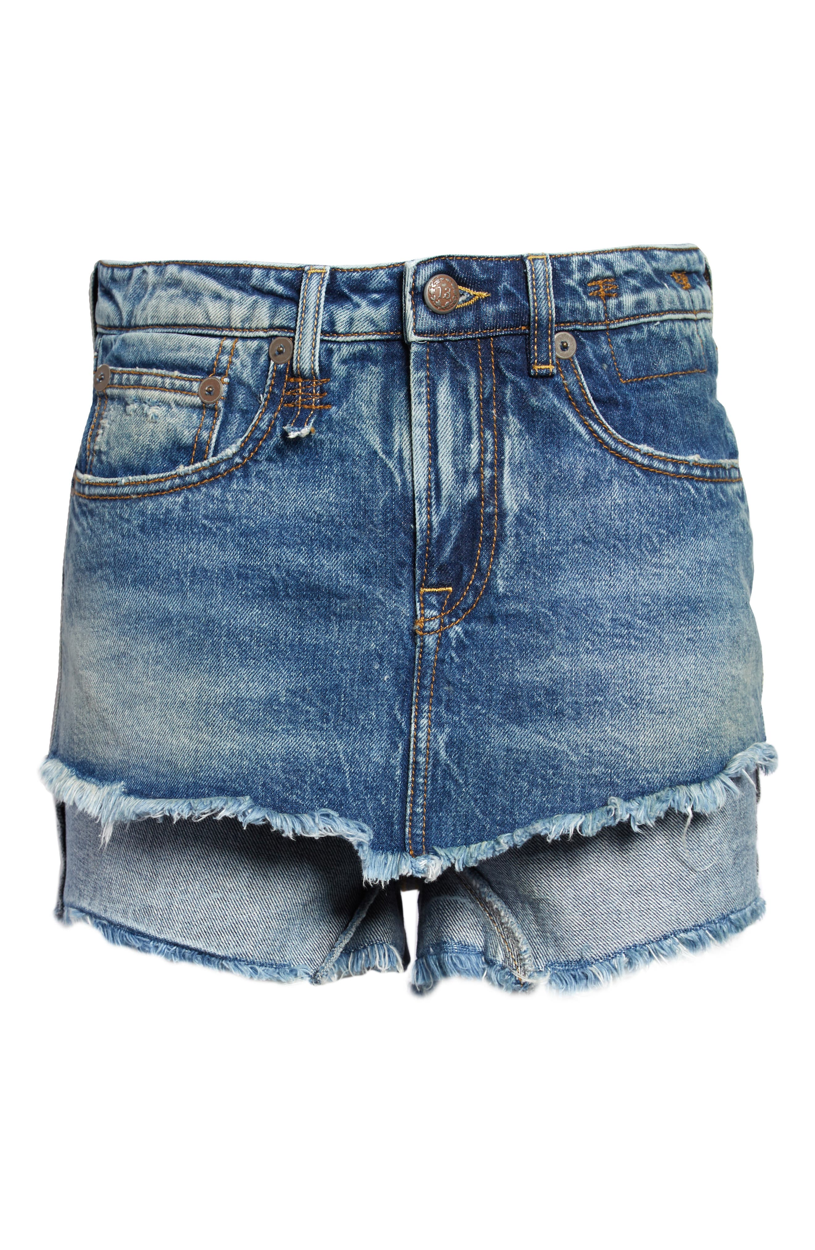 Women's R13 Double Layer Cutoff Denim Shorts,  27 - Blue