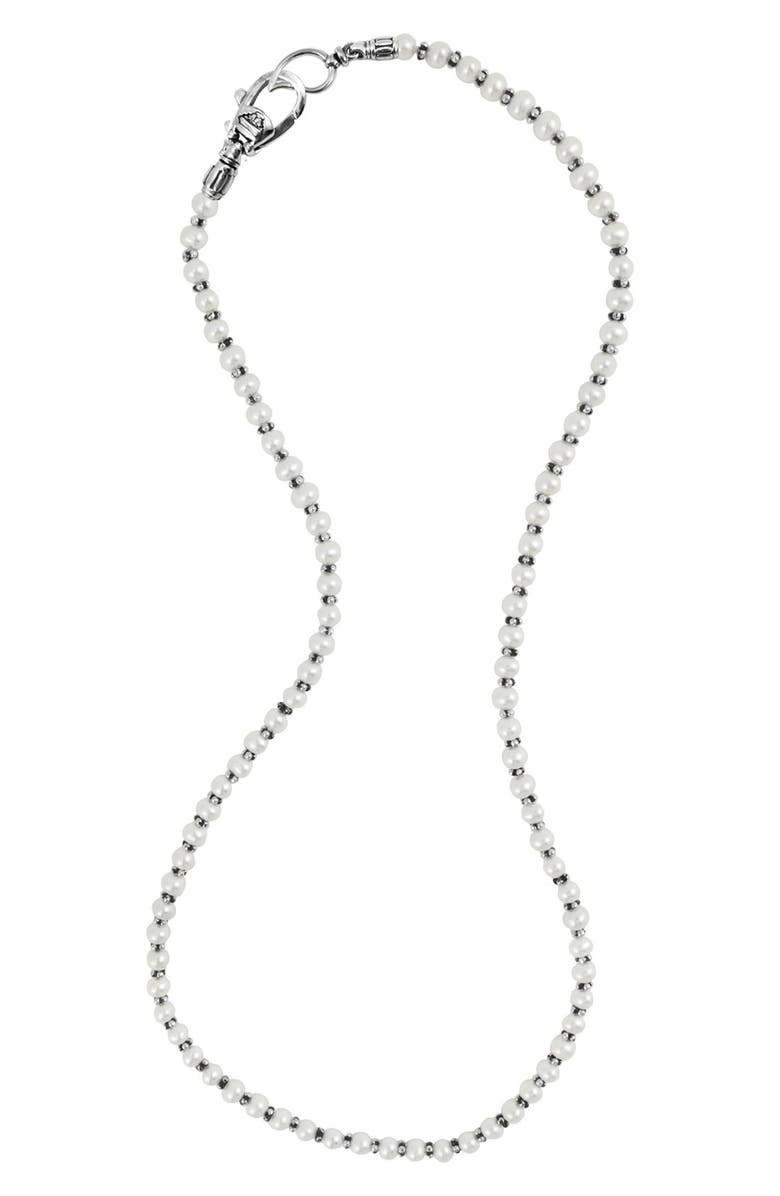 LAGOS Luna Pearl Necklace, Main, color, SILVER/ PEARL
