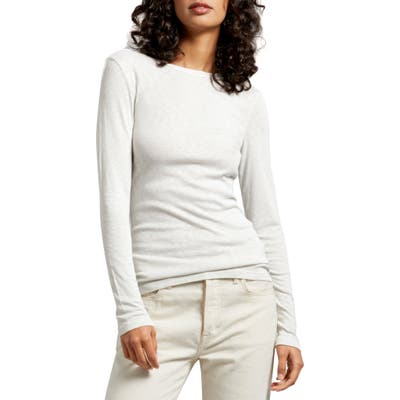 Michael Stars Kristen Long Sleeve Crewneck Tee, Size One Size - White