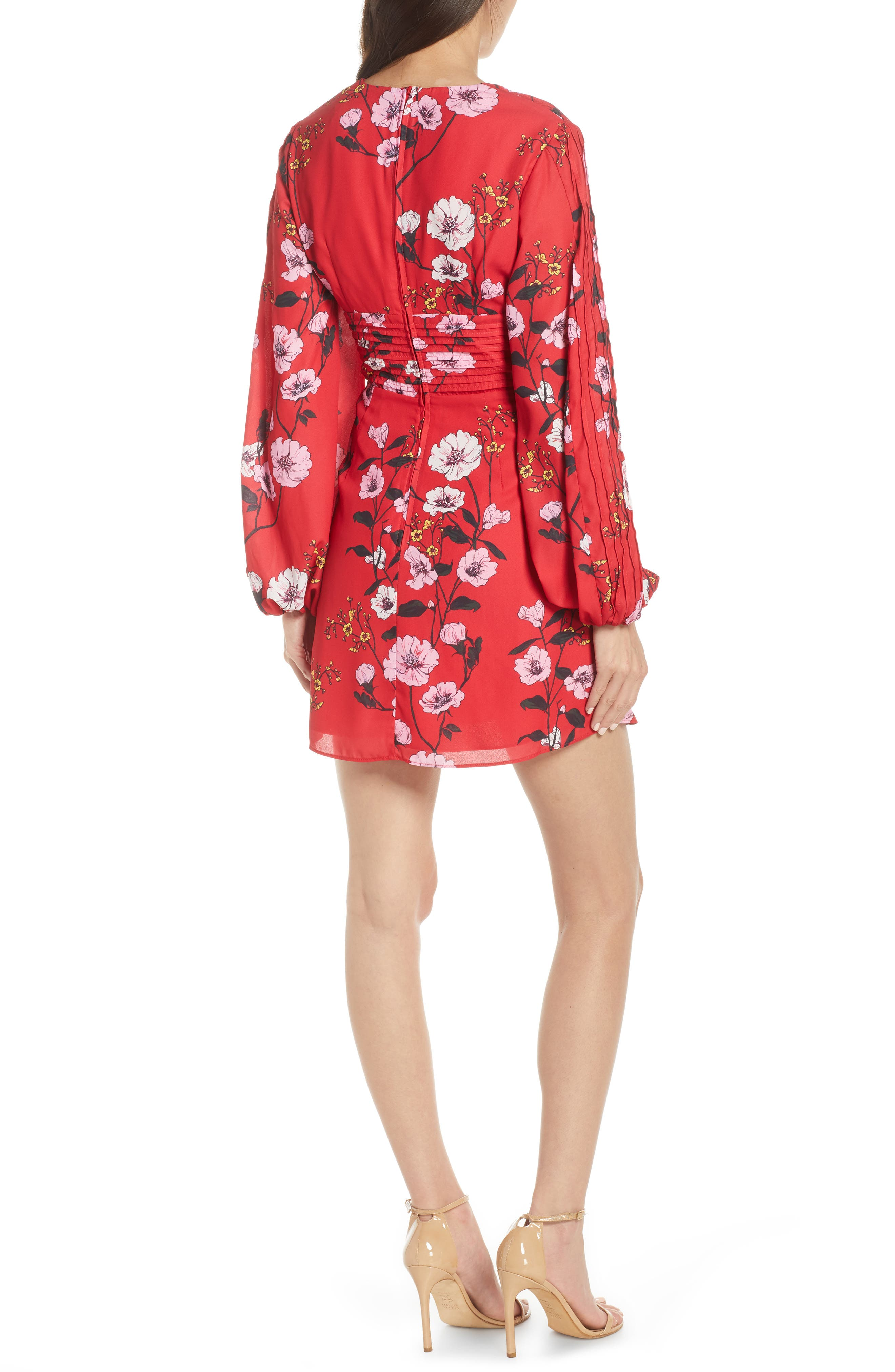 ,                             Darkness Floral Long Sleeve Minidress,                             Alternate thumbnail 2, color,                             SCARLET RED BLOOM