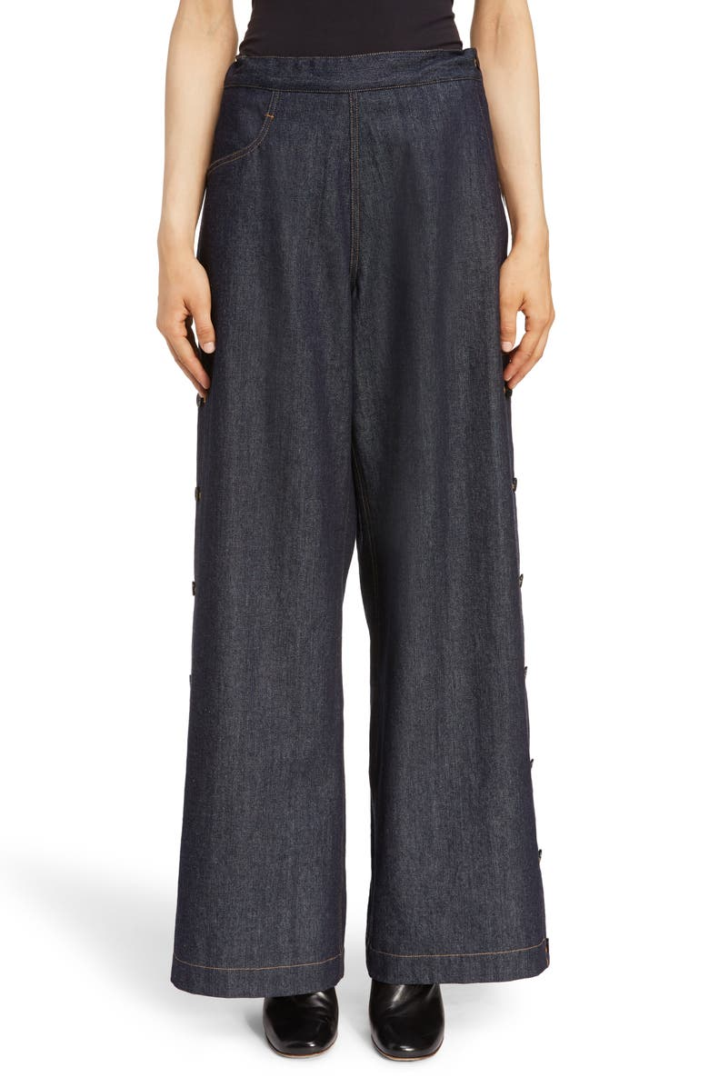 Y'S BY YOHJI YAMAMOTO Side Button Wide Leg Jeans, Main, color, 400