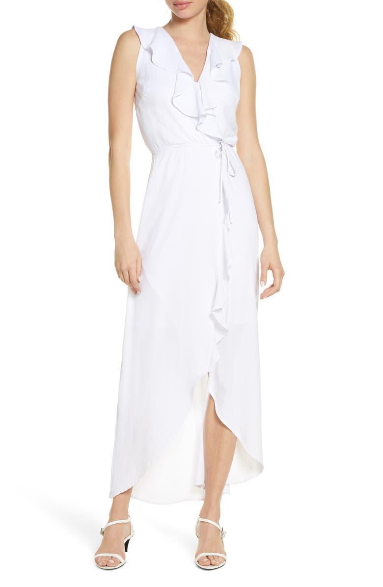 FRAICHE BY J Ruffle Faux Wrap Maxi Dress, Main, color, 101
