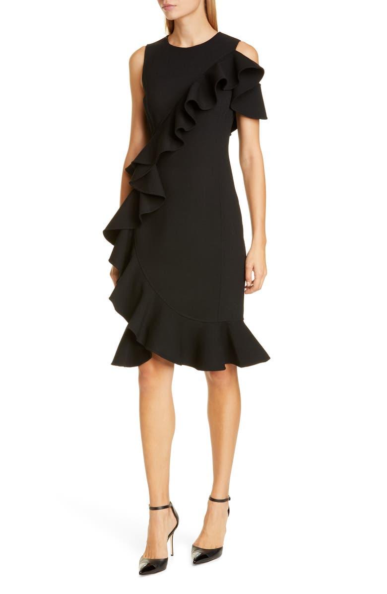 MICHAEL KORS COLLECTION Michael Kors Ruffle Wool Blend Bouclé Sheath Dress, Main, color, BLACK