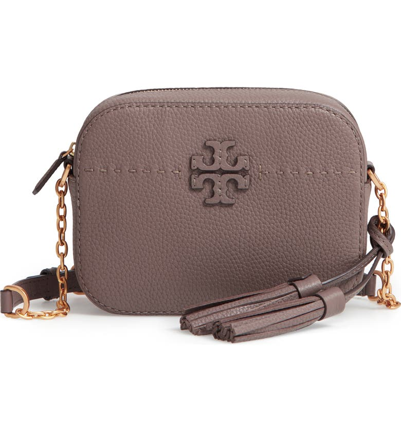 TORY BURCH McGraw Leather Camera Bag, Main, color, SILVER MAPLE