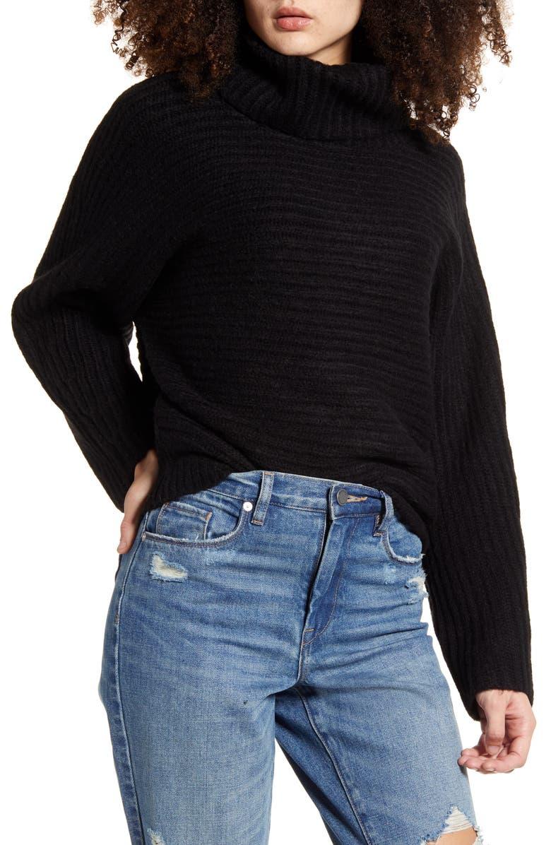 LEITH Dolman Turtleneck Sweater, Main, color, BLACK
