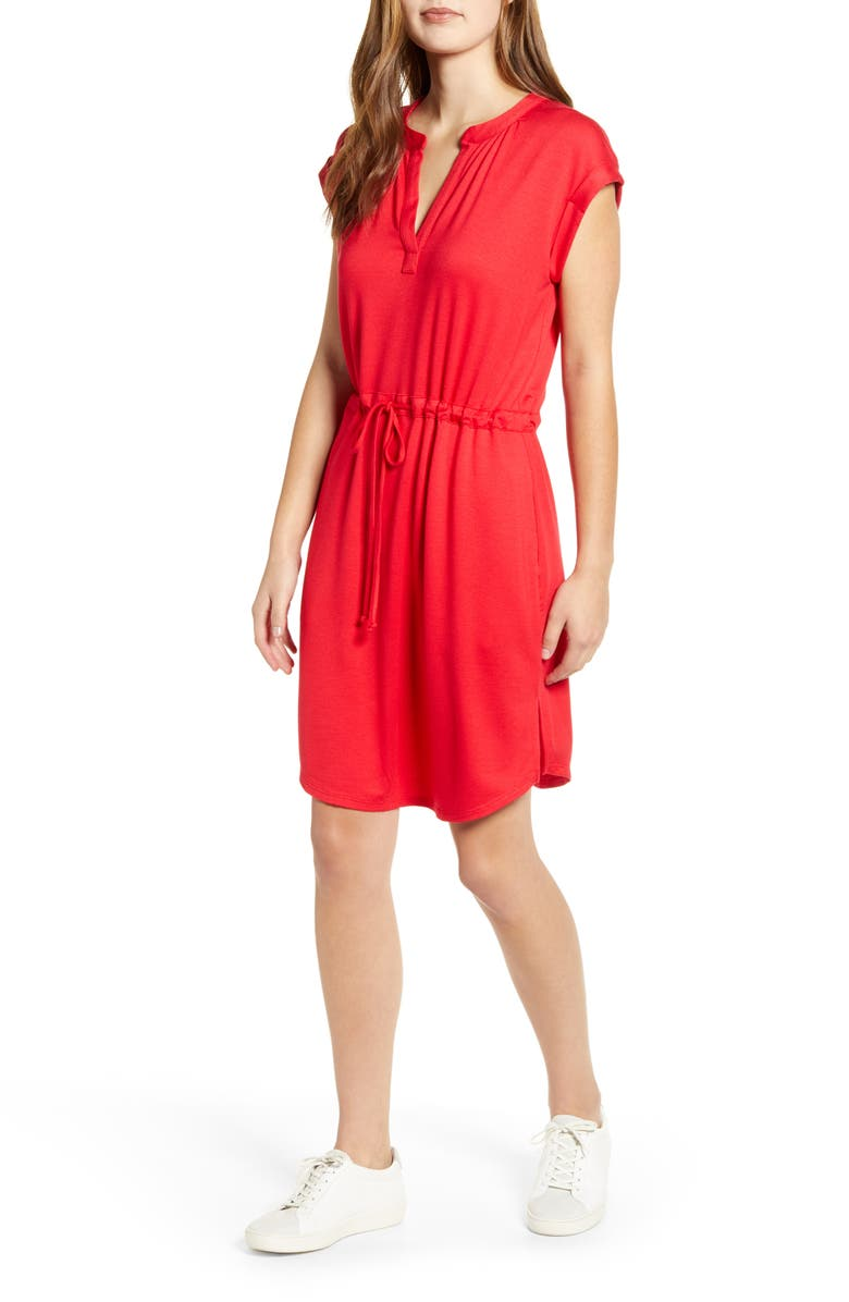 GIBSON x Hi Sugarplum! Como Drawstring Jersey Dress, Main, color, ROSSA