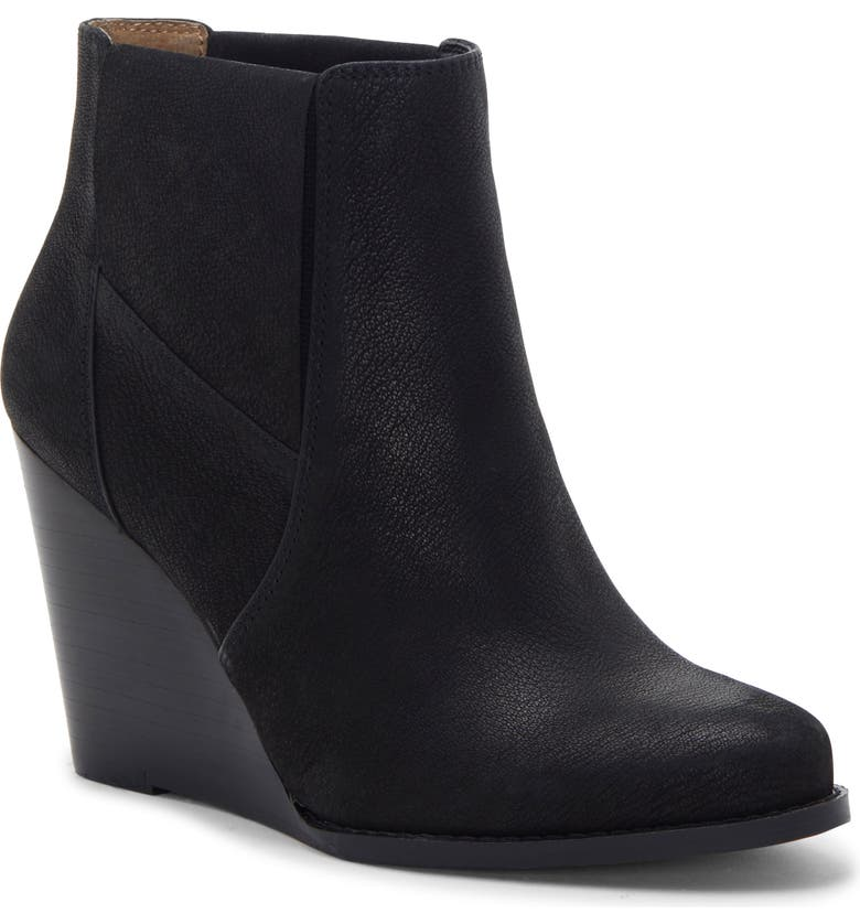 JESSICA SIMPSON Ciandra Wedge Bootie, Main, color, BLACK LEATHER