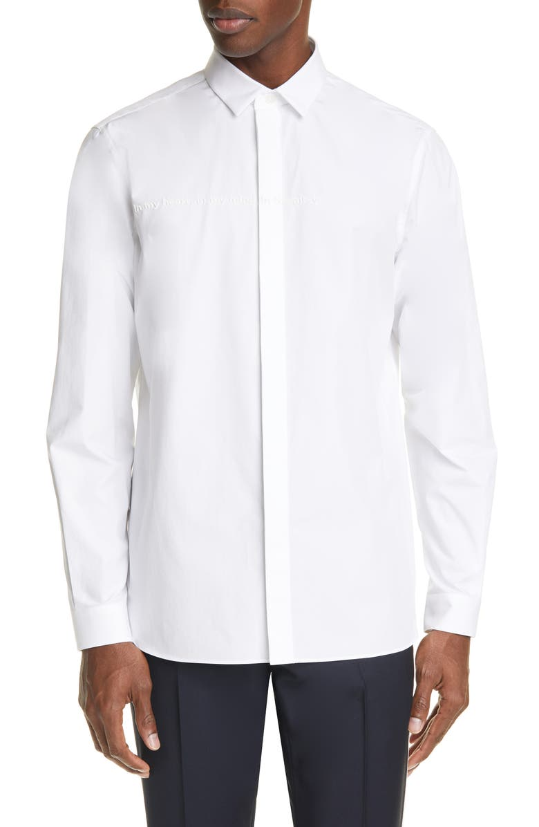 VALENTINO Slim Fit Embroidered Button-Up Shirt, Main, color, WHITE