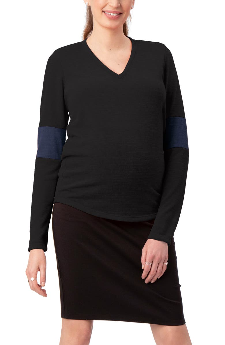 STOWAWAY COLLECTION Contrast Elbow Maternity Sweater, Main, color, BLACK