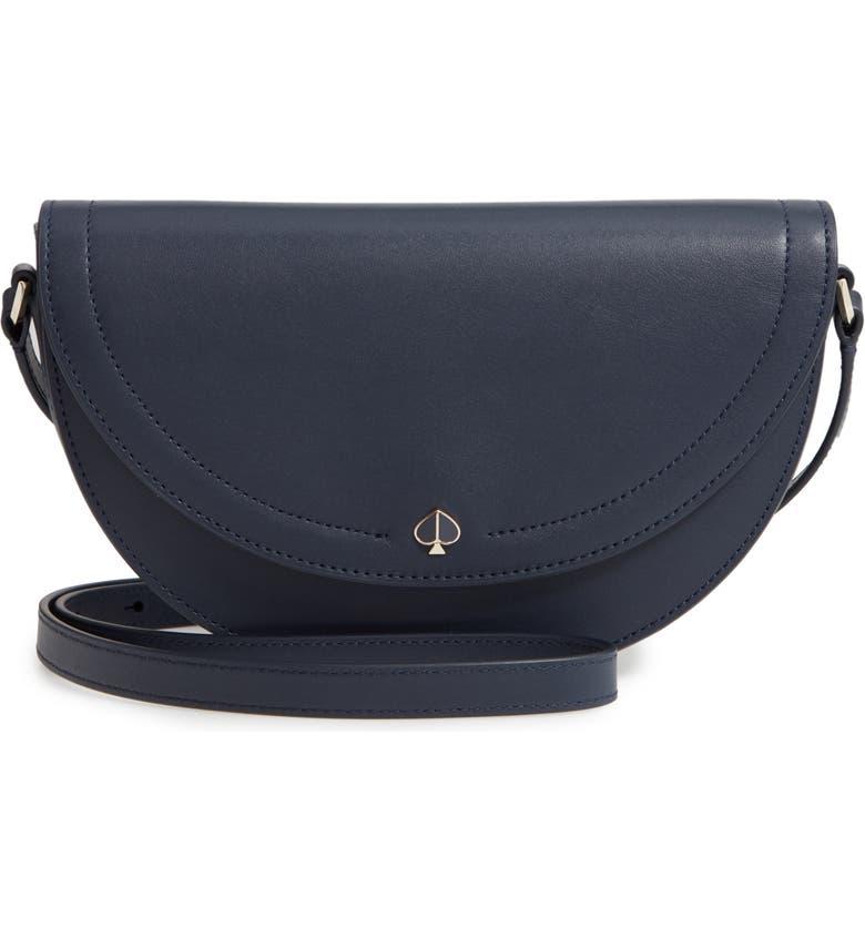 KATE SPADE NEW YORK andi half moon crossbody bag, Main, color, BLAZER BLUE