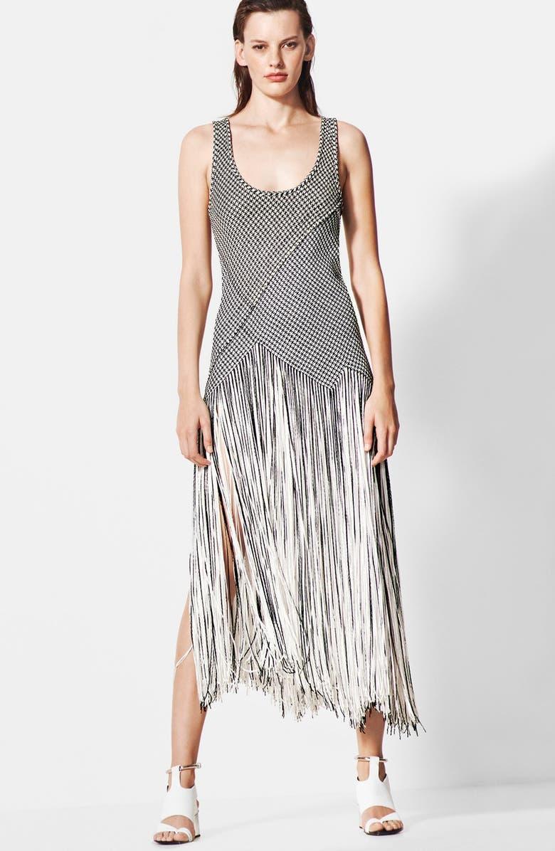 PROENZA SCHOULER Basket Weave Fringe Skirt Dress, Main, color, 011