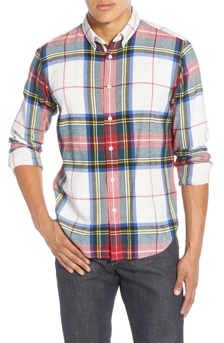RAG & BONE Tomlin Slim Fit Plaid Button-Down Shirt, Main, color, IVORY MULTI