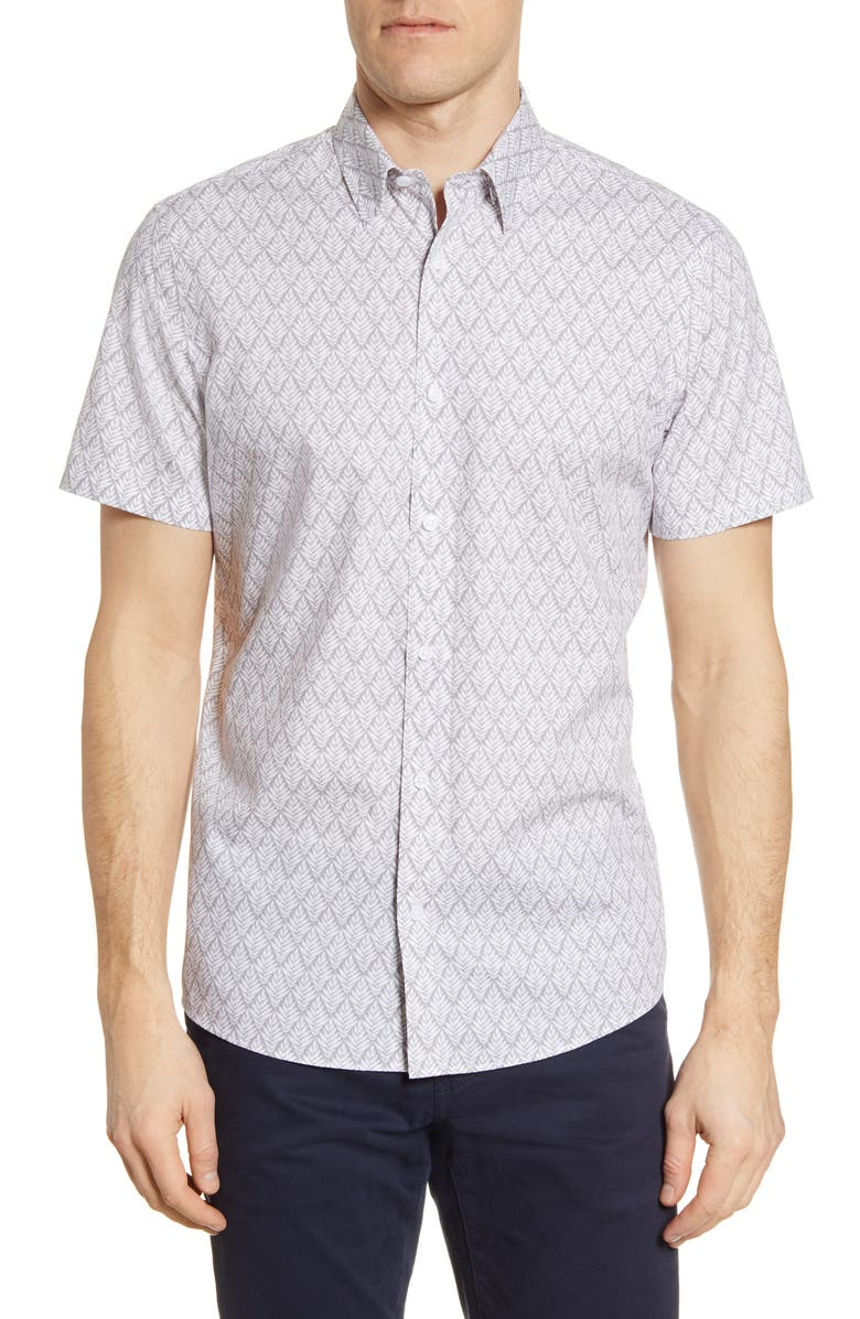 NORDSTROM MEN'S SHOP Trim Fit Non-Iron Vine Print Short Sleeve Button-Up Shirt, Main, color, 030
