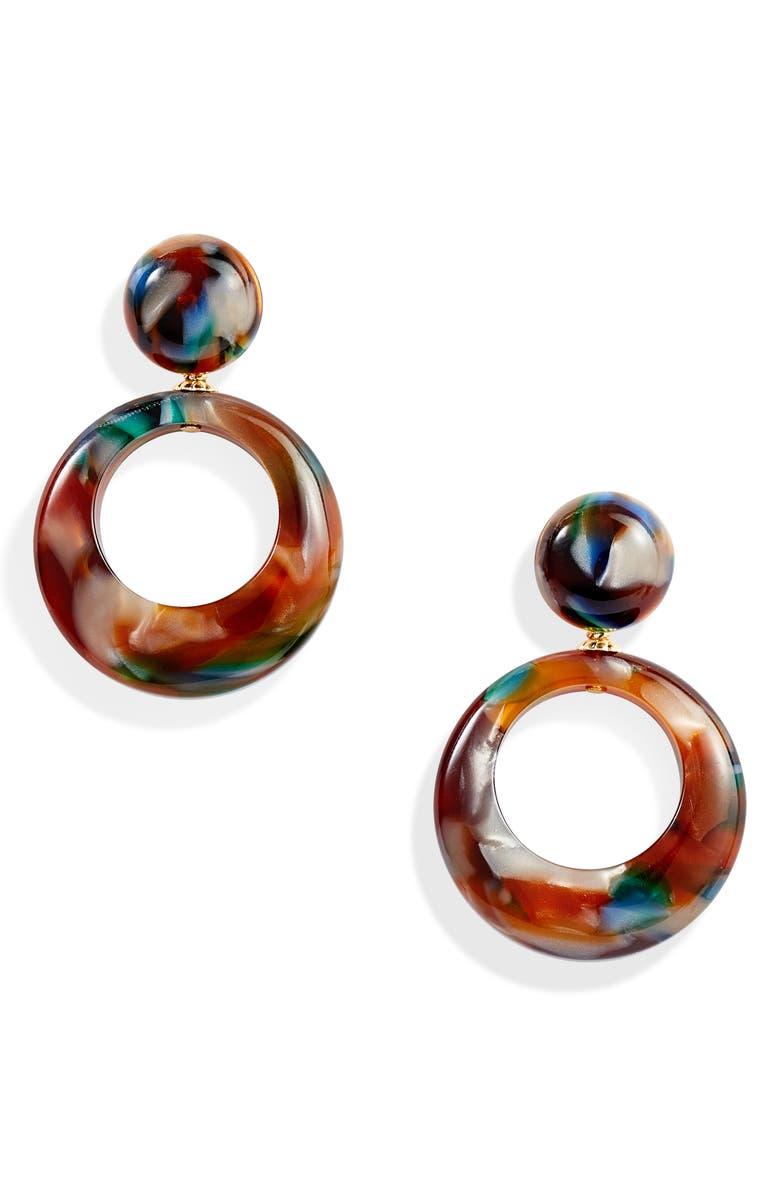 GAS BIJOUX Ischia Hoop Earrings, Main, color, BROWN/ MULTI
