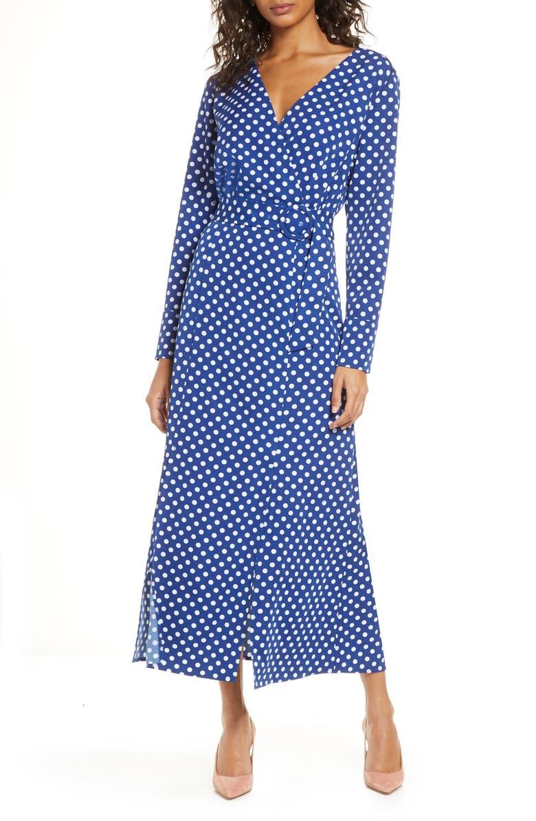 1901 Polka Dot Long Sleeve Maxi Wrap Dress, Main, color, COBALT-WHITE DOT