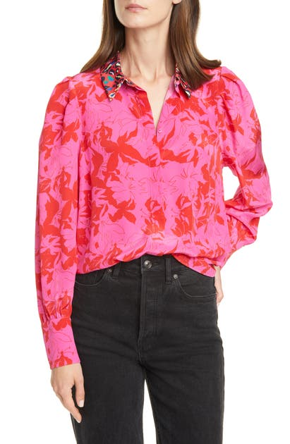 Tanya Taylor Tops DOMINIQUE PATTERN MIX SILK BLOUSE