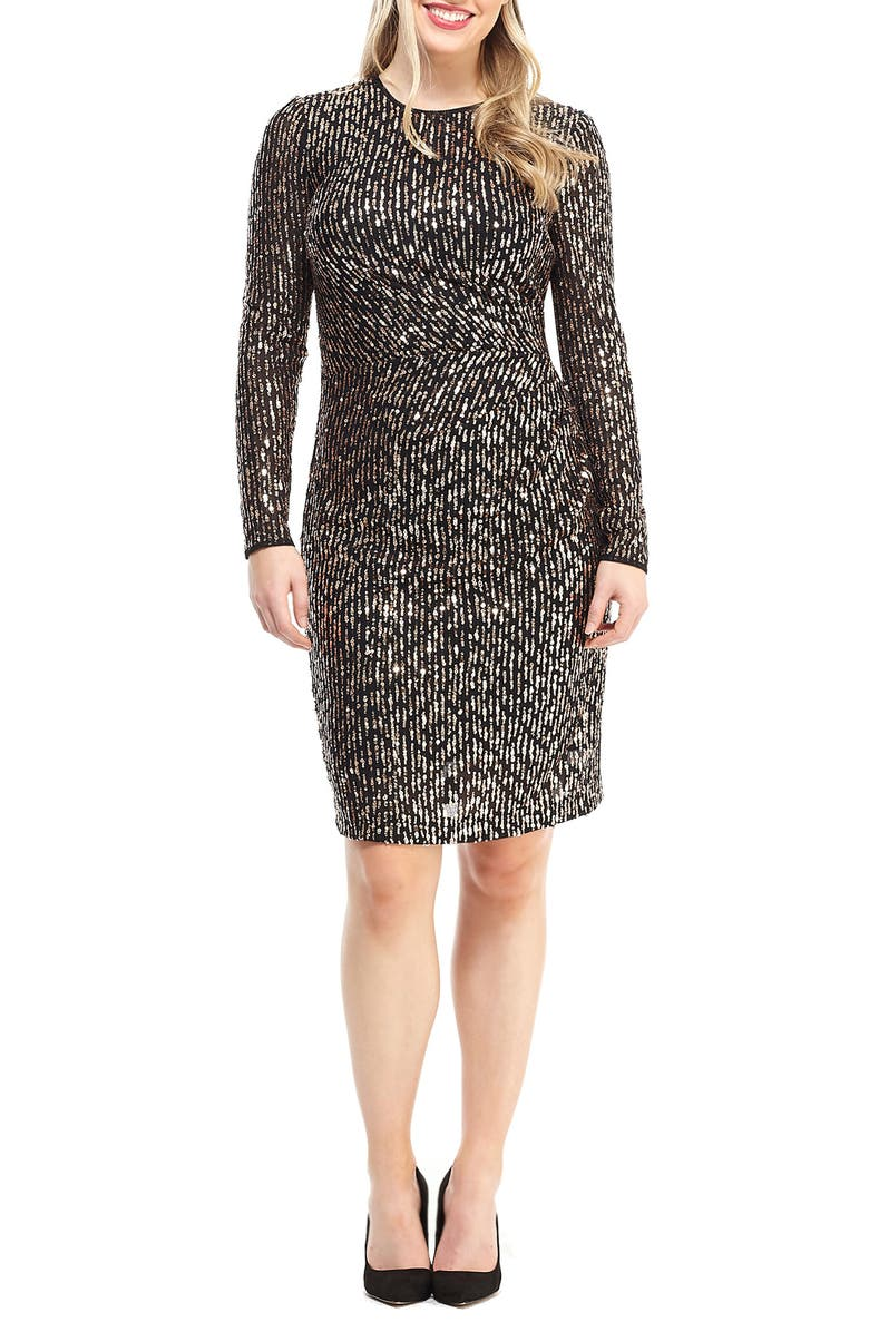 MAGGY LONDON Sequin Long Sleeve Dress, Main, color, 001