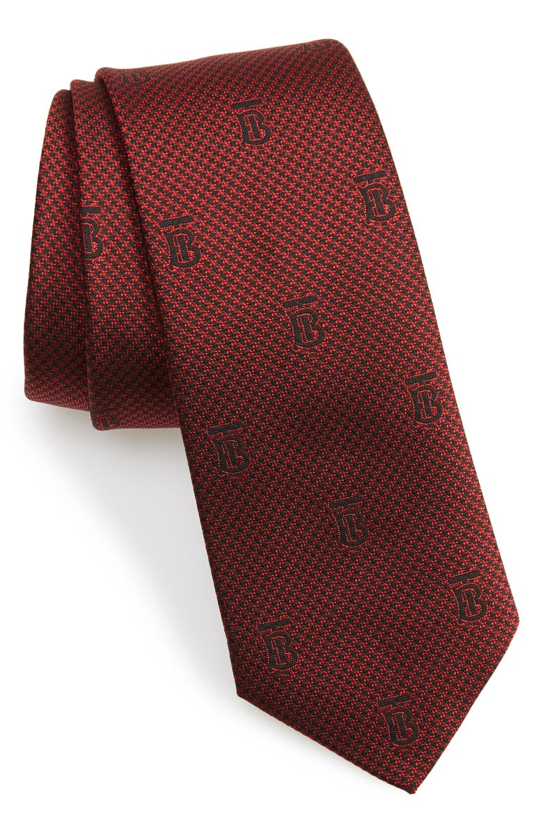 BURBERRY Manston Monogram Silk Tie, Main, color, PARADE RED