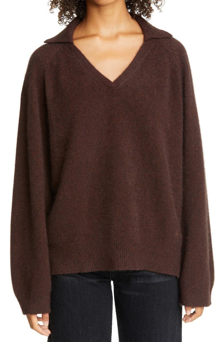 LOULOU STUDIO Oversized Wool Blend Polo Sweater, Main, color, 200