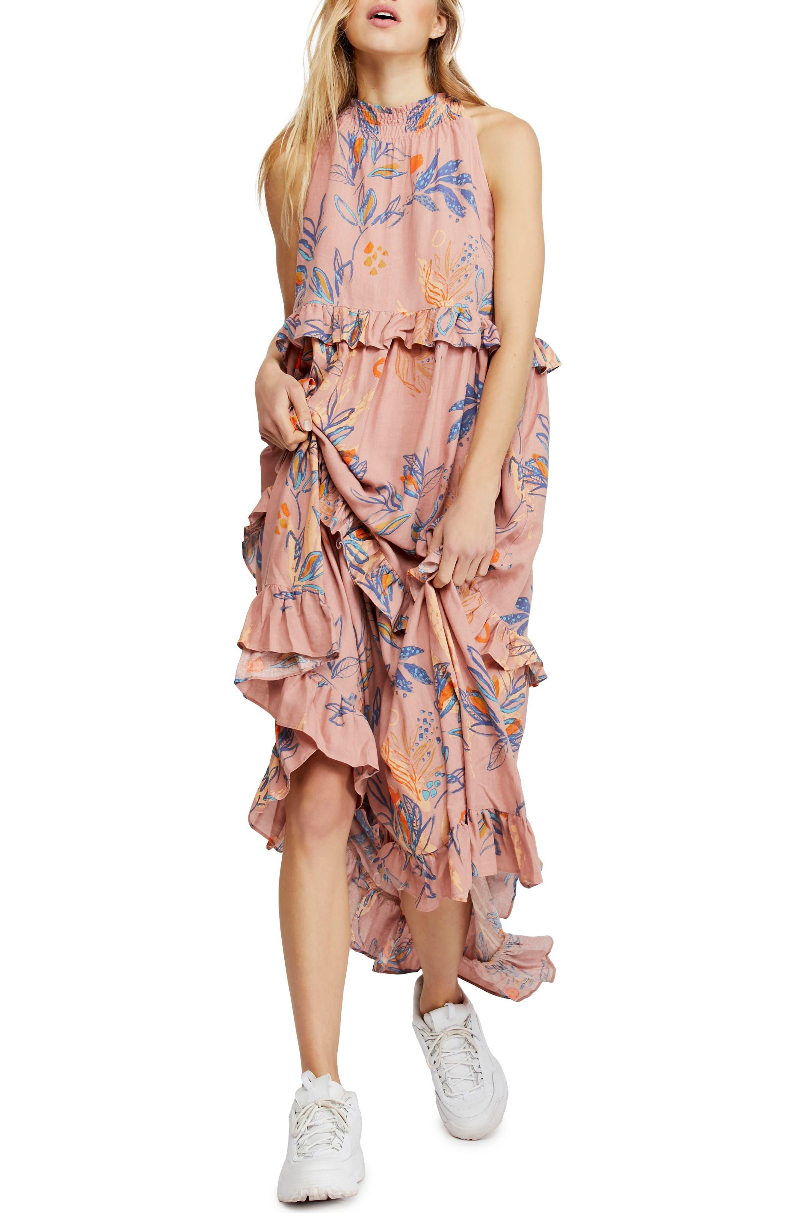 Free People Anita High/low Dress, Coral