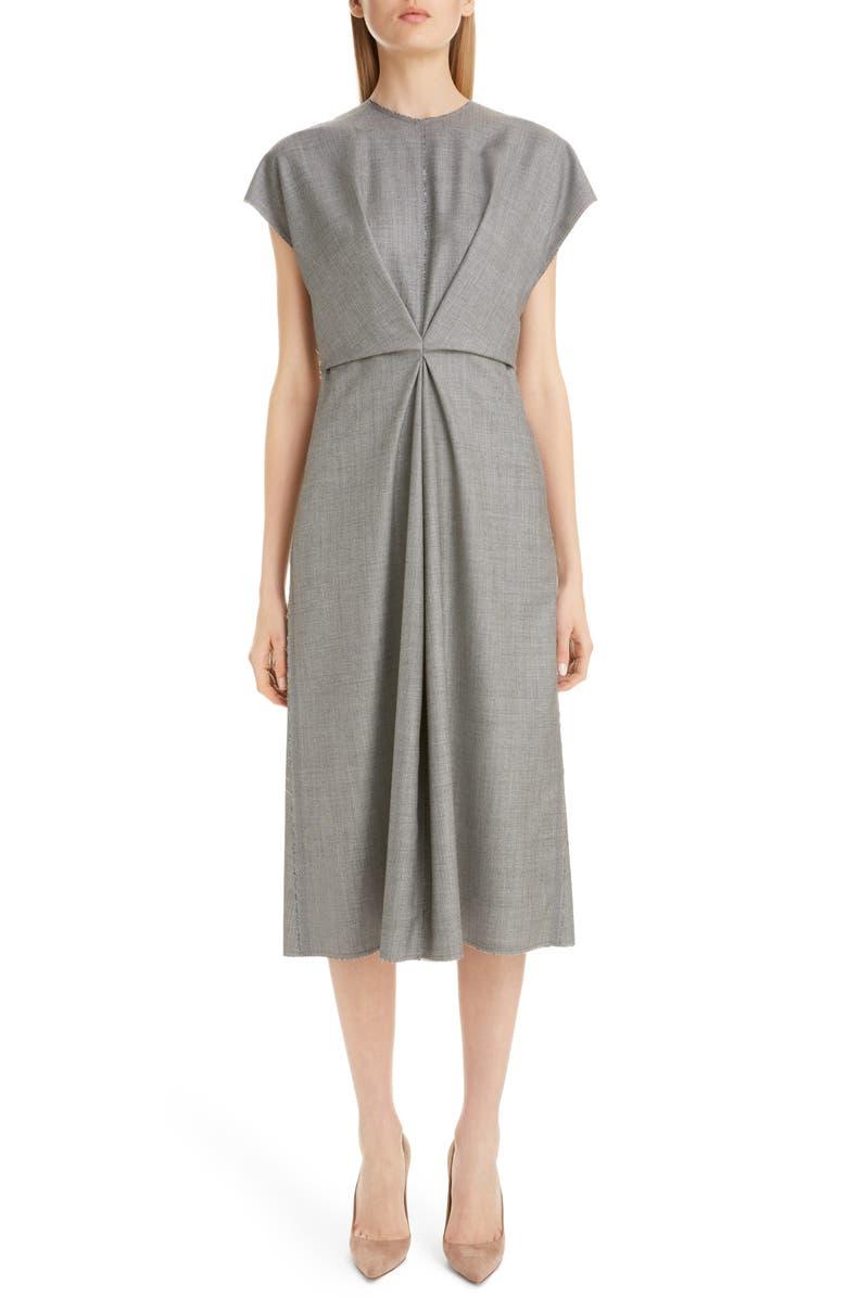 LOEWE Gathered Wool Midi Dress, Main, color, GREY