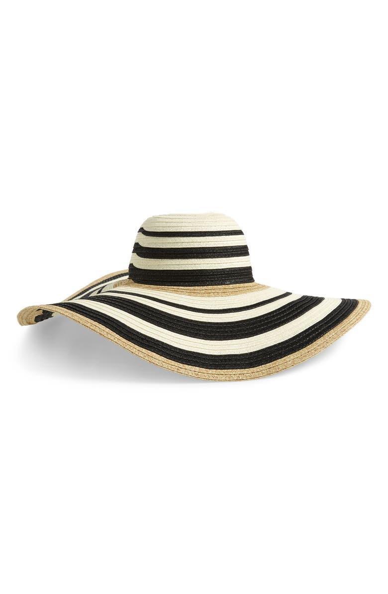 NORDSTROM Modern Stripe Floppy Hat, Main, color, 001