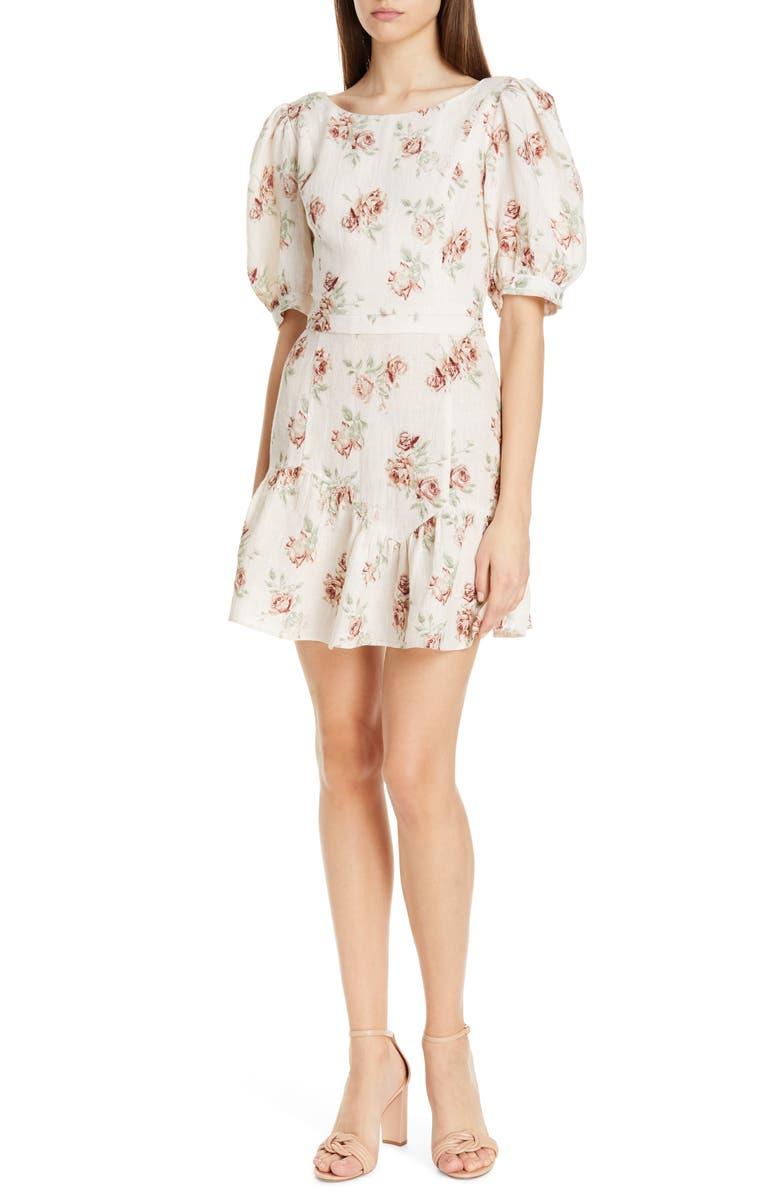 LOVESHACKFANCY Lena Linen Dress, Main, color, DREAM