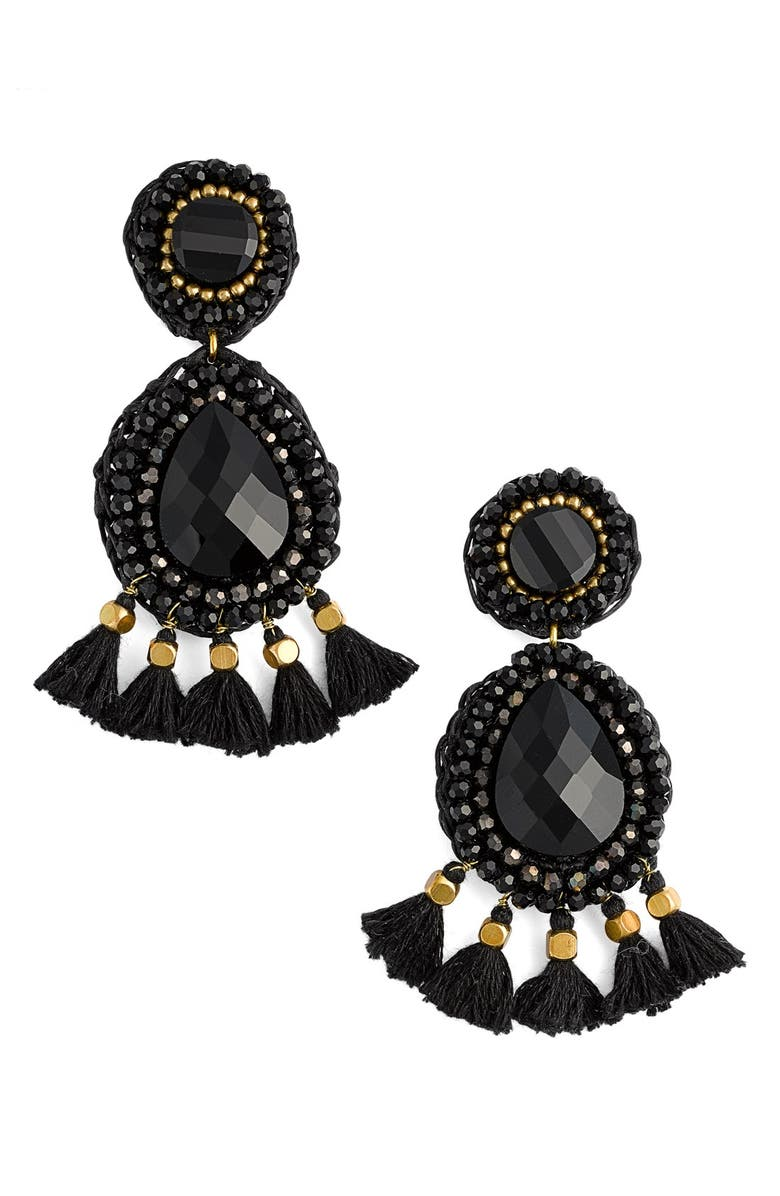 PANACEA Rope Tassel Statement Earrings, Main, color, 001