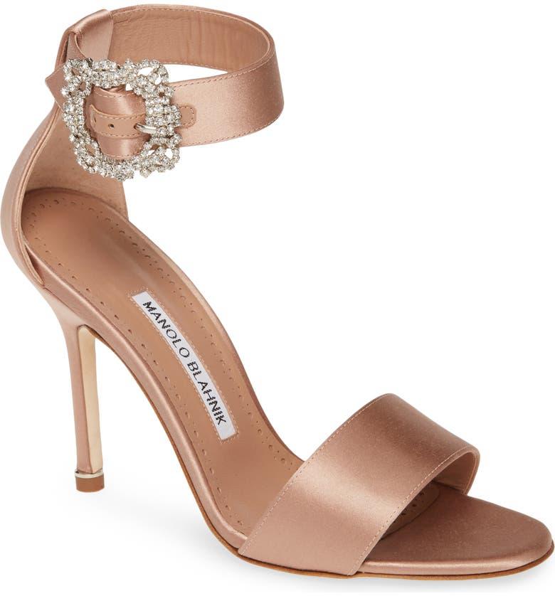 MANOLO BLAHNIK Sanghal Ankle Strap Sandal, Main, color, FLESH SATIN