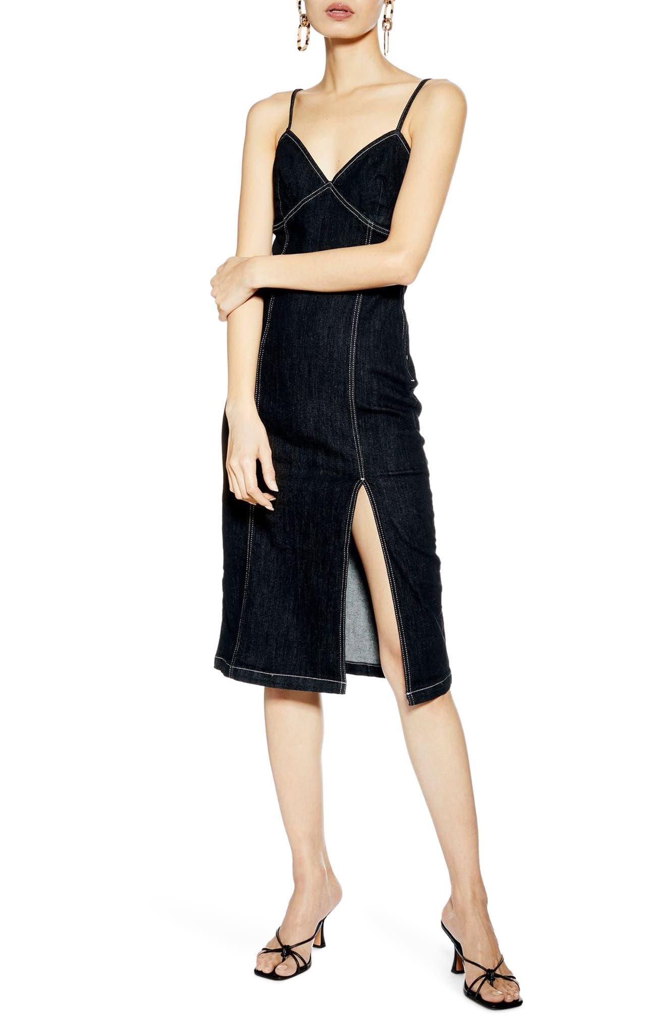 cfe13fc0bd7c Topshop Stretch Denim Midi Dress, US (fits like 6-8) - Black