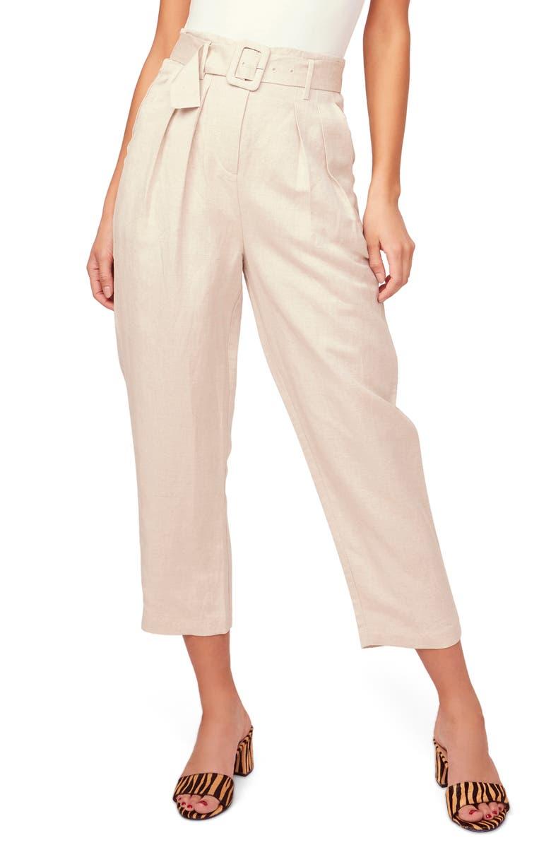 ASTR THE LABEL Larsen Belted Linen Blend Crop Pants, Main, color, NATURAL