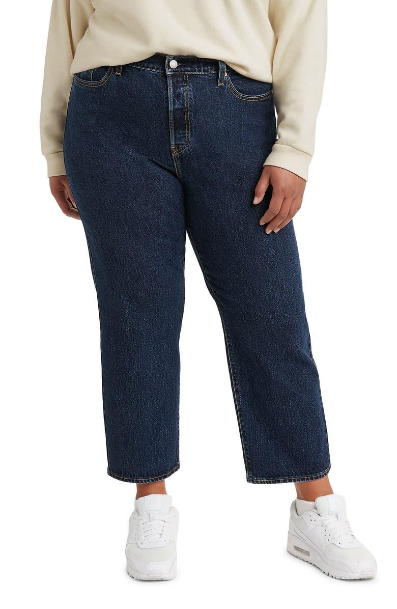 LEVI'S<SUP>®</SUP> Wedgie High Waist Raw Hem Straight Leg Jeans, Main, color, SALSA DARK STONE